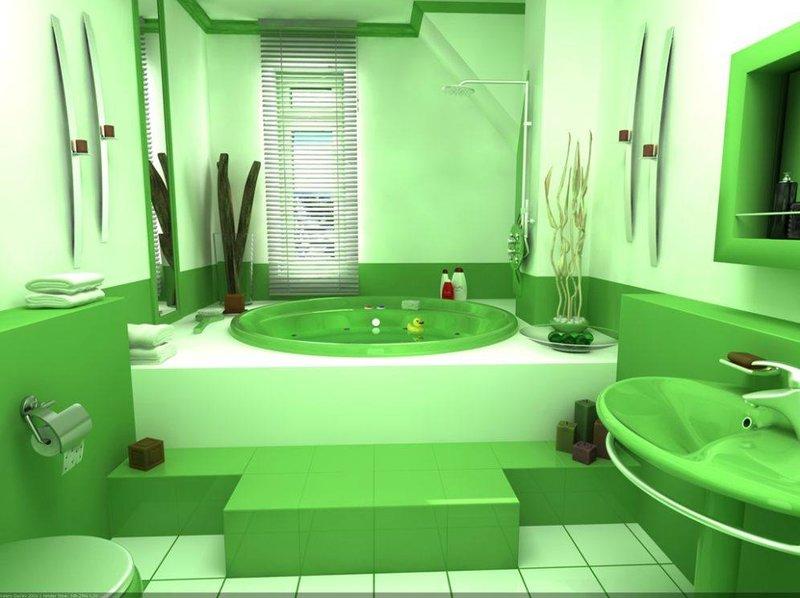 Яркая, салатовая ванная комната.