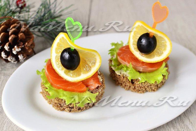бутерброды с красной рыбой оформление фото рецепт