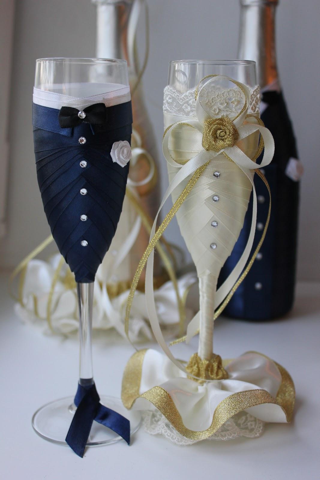 Как украсить свадебные бокалы своими руками из лент фото 46