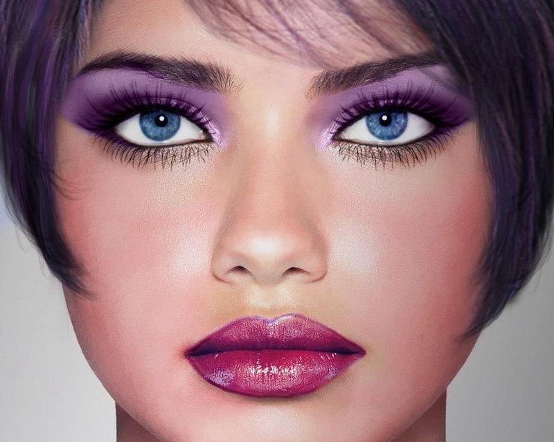 Фиолетовый макияж для ярко-голубых глаз