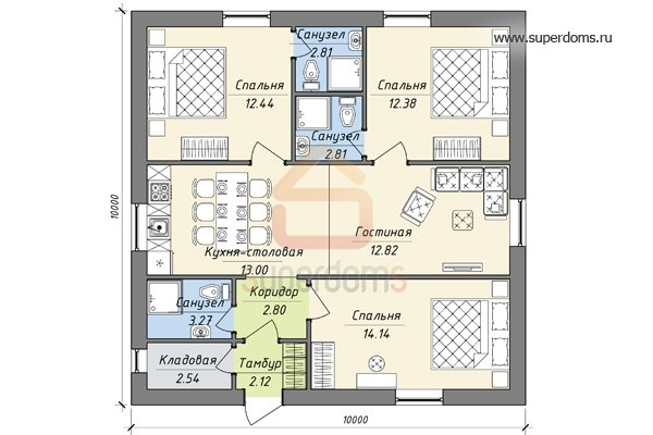 оптом производителя проект одноэтажного дома 9на 12 с четырьмя спальнями эластичности облеганию тела