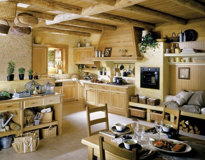 Кухня в стиле кантри с плетеной мебелью.