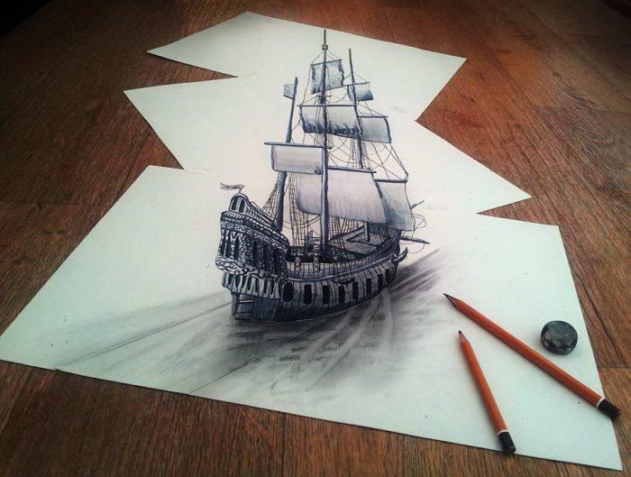 3D рисунки карандашом на бумаге (41 фото)