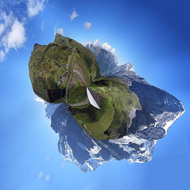 Горы в круговой панораме похожи на астероид