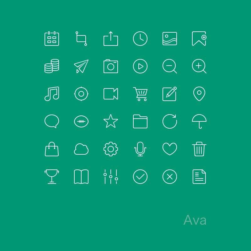 Скачать набор из 36 иконок в стилистике iOS7 в psd формате