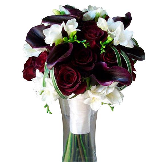 Букет невесты из бордовых фрезии цена