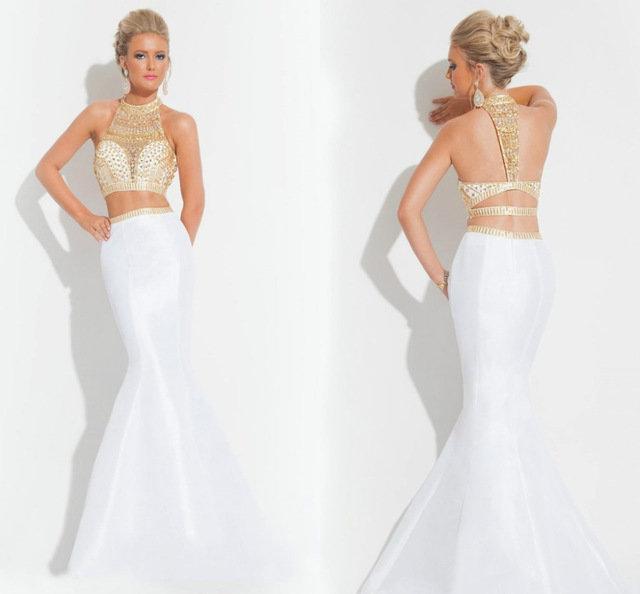 Белый золотой платье вечернее