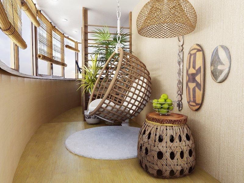 Дизайн балкона с подвесным креслом