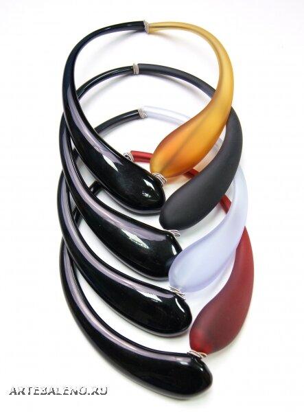 DM08 Колье с матовой цветной частью муранское стекло  - Специальное предложение: СКИДКА 40% - Интернет магазин Артебалено