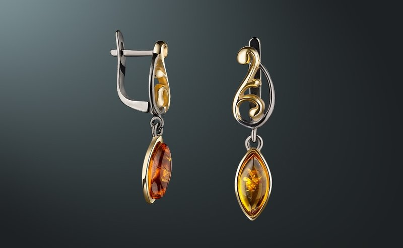 Купить серьги с янтарем | Каталог и цены на серебряные серьги-пуссеты с янтарем