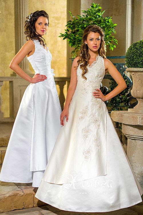 Кружевное свадебное платье Нарцисс Люкс с воротом американка