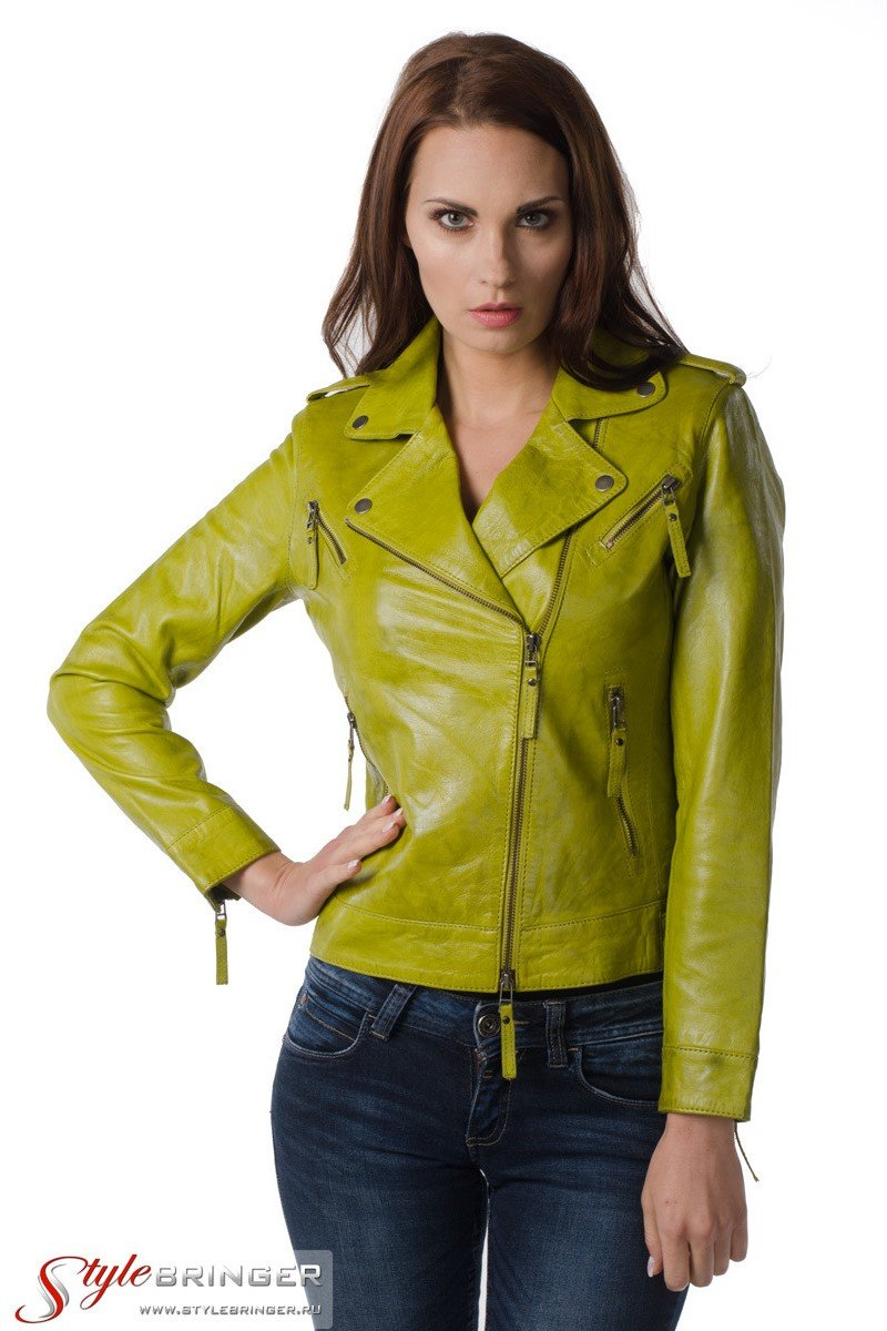 Куртка кожаная ARBEX F153 lime
