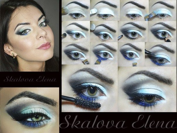 макияж для голубых глаз, фото пошагово