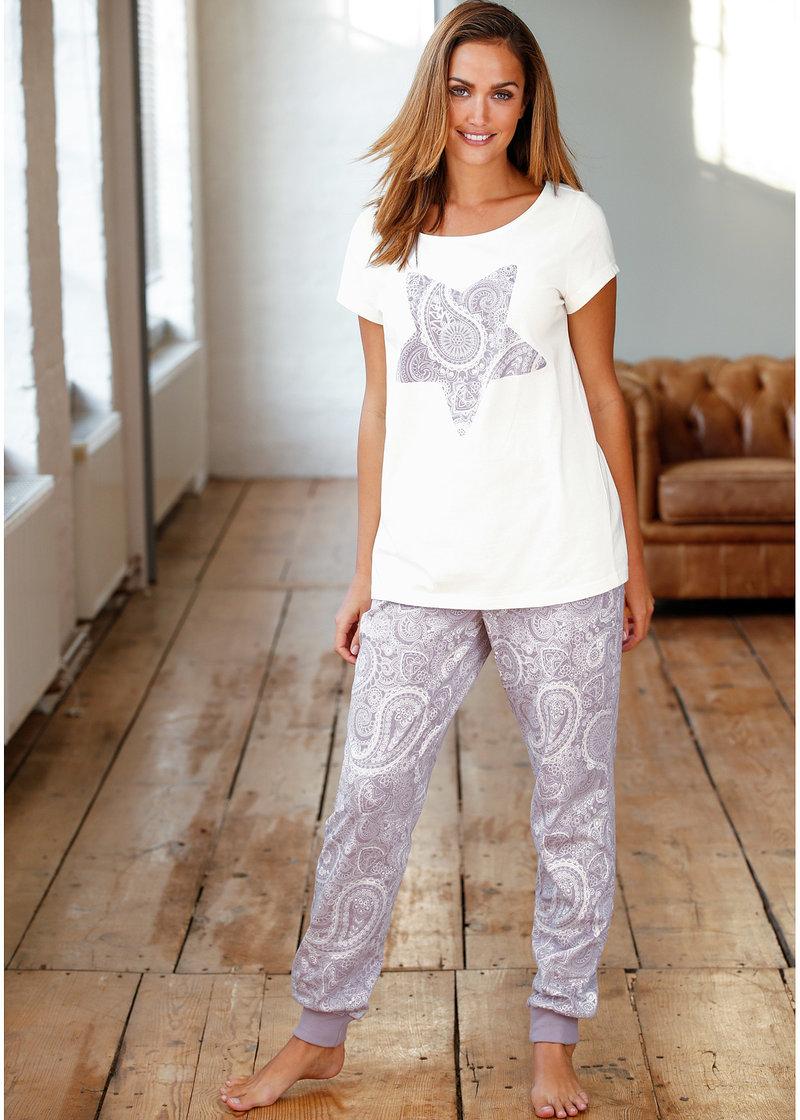Модная пижама с короткими рукавами - сиреневый матовый с рисунком
