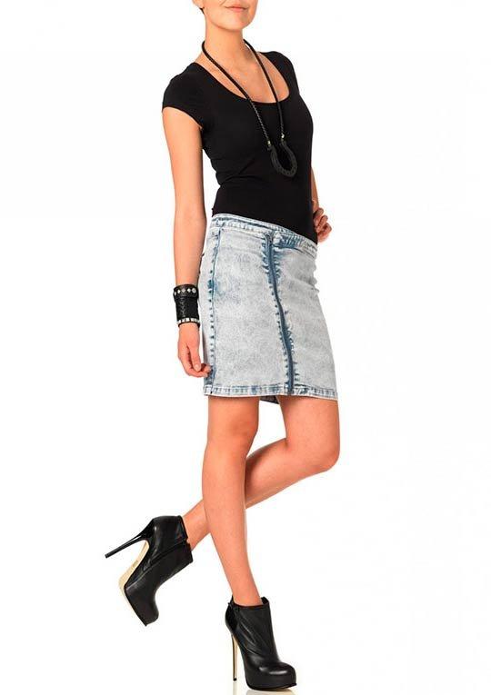 модные джинсовые юбки фото