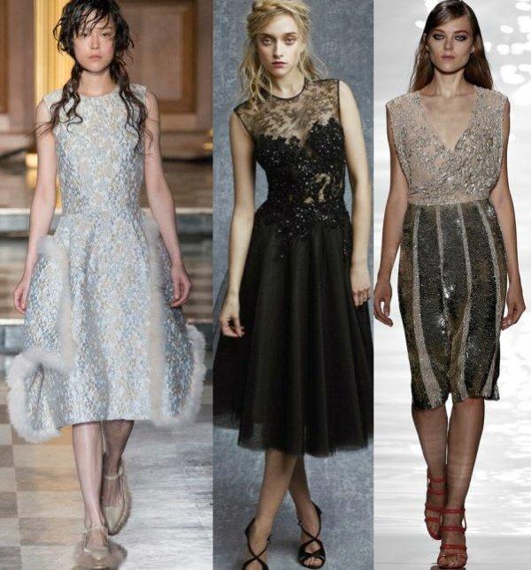 Модные новогодние платья средней лины