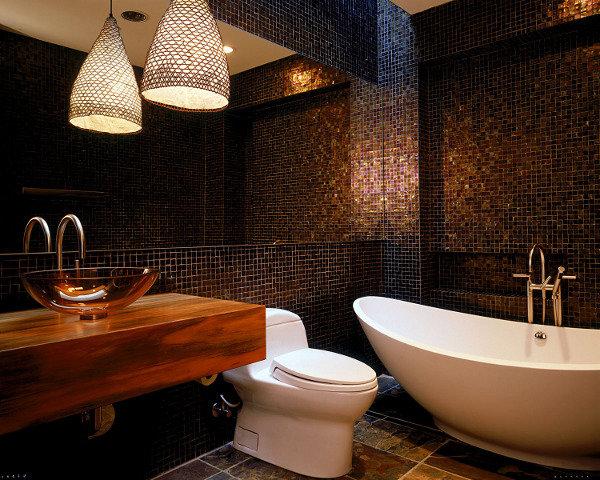 Пиксельная мозаика в ванной комнате :: Фото красивых интерьеров