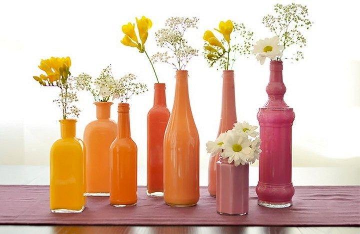 Поделки из стеклянных бутылок для