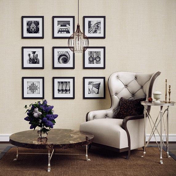 пример декора стены с фото чёрно белыми