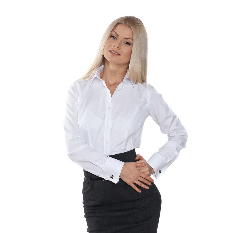Приталенная женская рубашка под запонки белая - 612 - интернет-магазин BritishStyle.ru