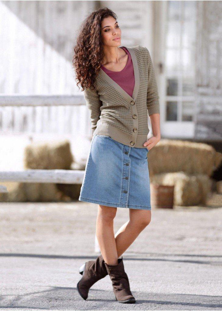 С чем носить джинсовую юбку 2013