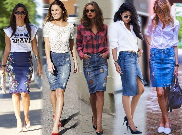 С чем носить джинсовую юбку карандаш?