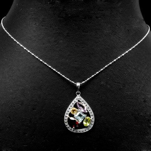 Серебряная подвеска 925 пробы мультистоун  - Кулоны и подвески - Silver jewels
