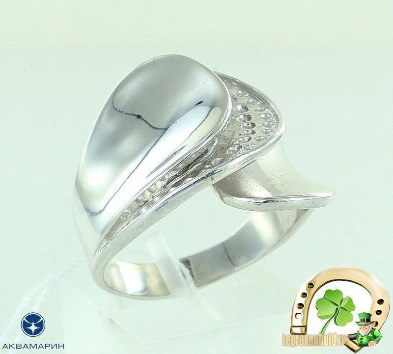 Серебряное кольцо Аквамарин 55042 фото