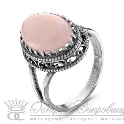 Серебряное кольцо на раздваивающейся основе с крупным овальным розовым кварцем в красивой оправе оксидирование размеры 16,5 17 17,5 18 18,5 19 19, 7469Б