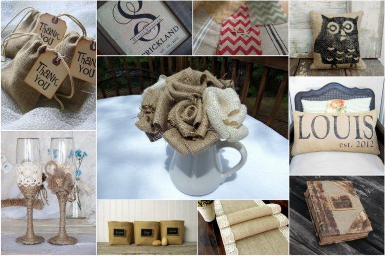 Вещи из мешковины для интерьера в деревенском стиле и не только