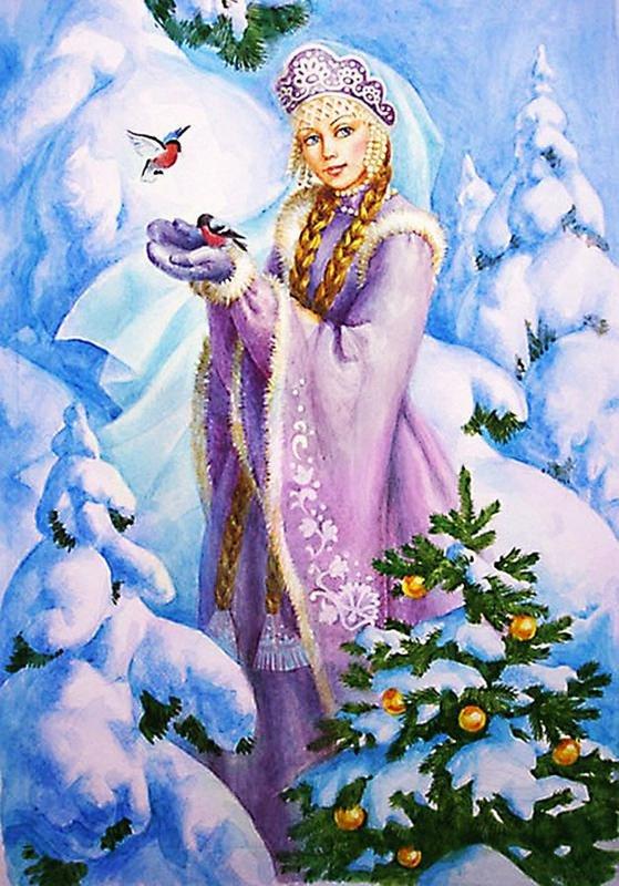 Картинки девушка зима красивые нарисованные, весне прикольные веселые