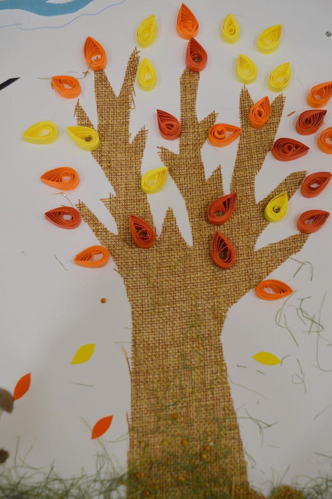 """«Осенняя аппликация """"Дерево с опадающими листочками ..."""