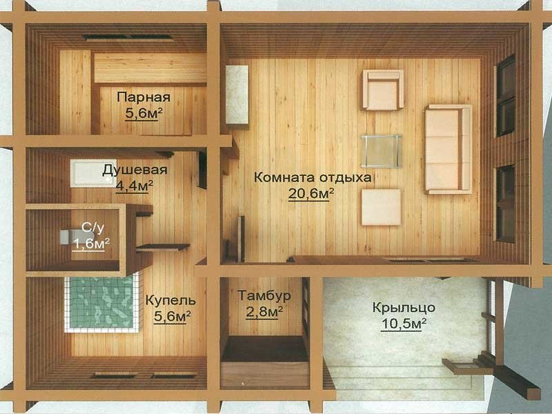 Вам нужен проект бани с дизайном и чертежами? Мы проектируем и строим русские бани из бревна, бруса и кирпича, а также готовые проекты и чертежи бань каркасных, с мансардой, террасой или верандой.