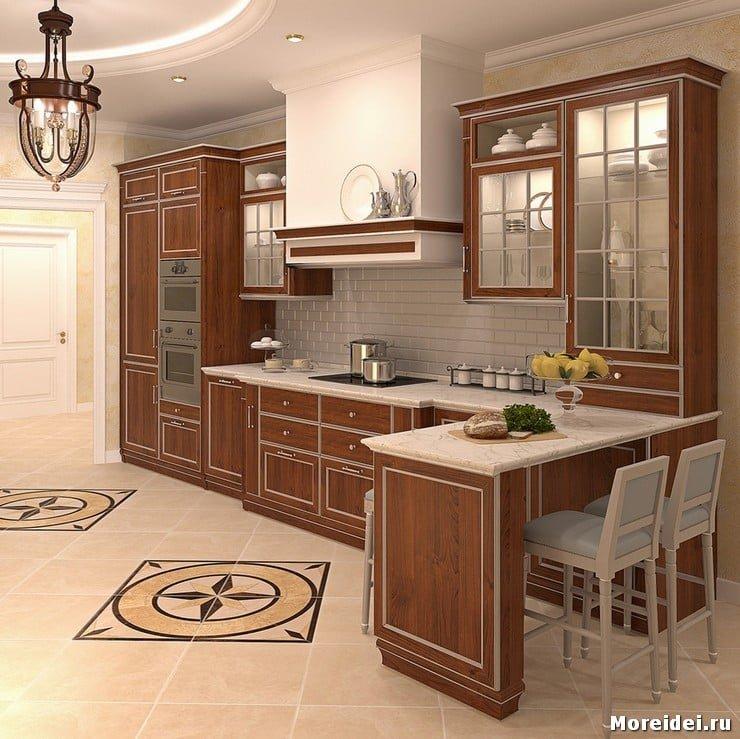 начал дизайн проходной кухни в частном доме фото лучший