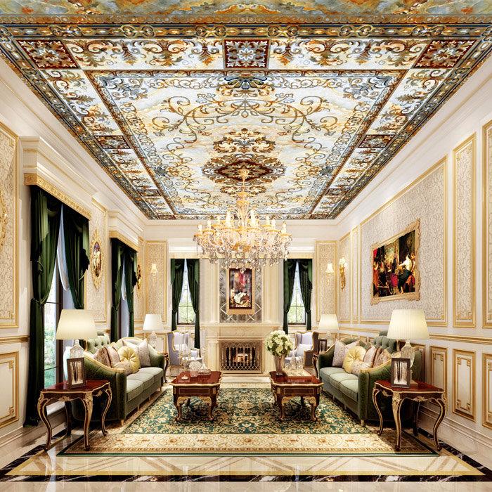 лассический стиль подразумевает украшение потолка лепниной, фризами, художественной росписью и даже позолотой. Приветствуется и вариант с декоративными багетами. Наши фото наглядно демонстрируют, насколько изысканно могут выглядеть такие поверхности.
