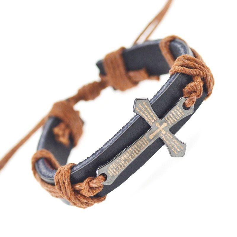 Купить онлайн: Браслет для женщин мужчины ювелирные изделия ручной работы тесьмой из натуральной кожи браслет обертывание крест браслеты браслеты ювелирных украшений 2015
