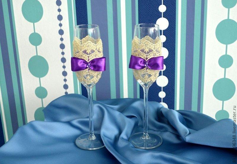 """Купить Свадебные бокалы """"Фиолет и беж"""" - фиолетовый, Бокалы, свадебные аксессуары, свадебные бокалы"""