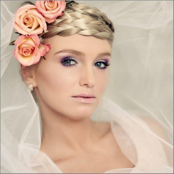 Сочетание букет + макияж невесты