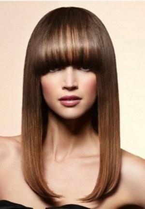 стрижки длинных волос с челкой