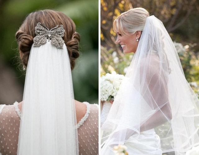 Свадебная укладка с заколотой вуалью