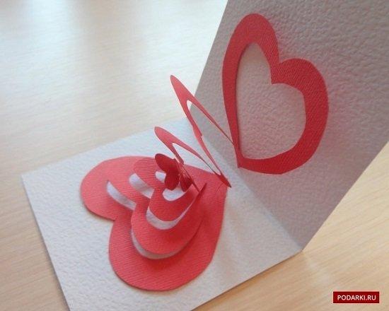 Веера, объемная открытка с сердцем