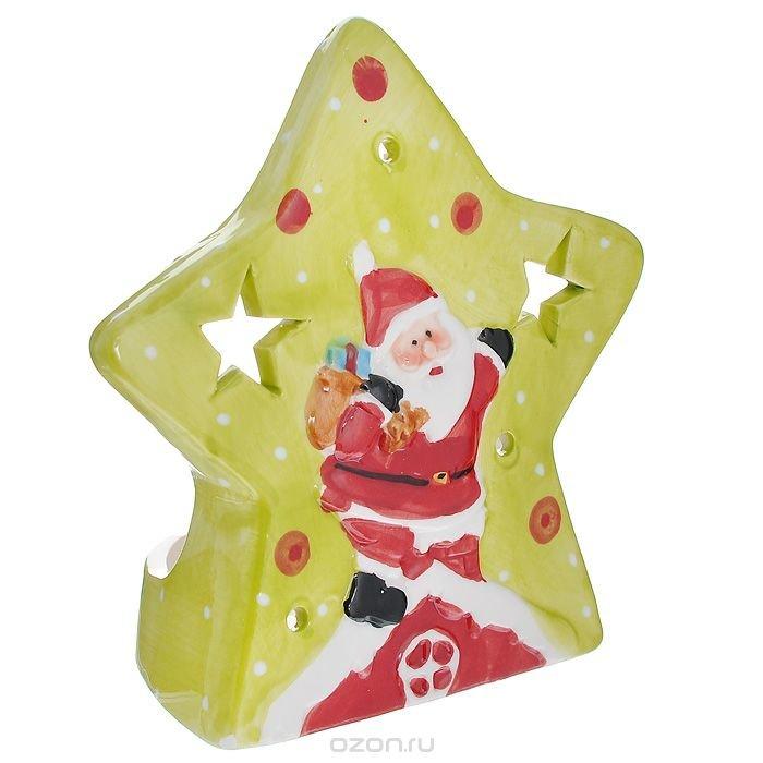 """Подсвечник """"Дед Мороз"""", цвет: красный, салатовый"""