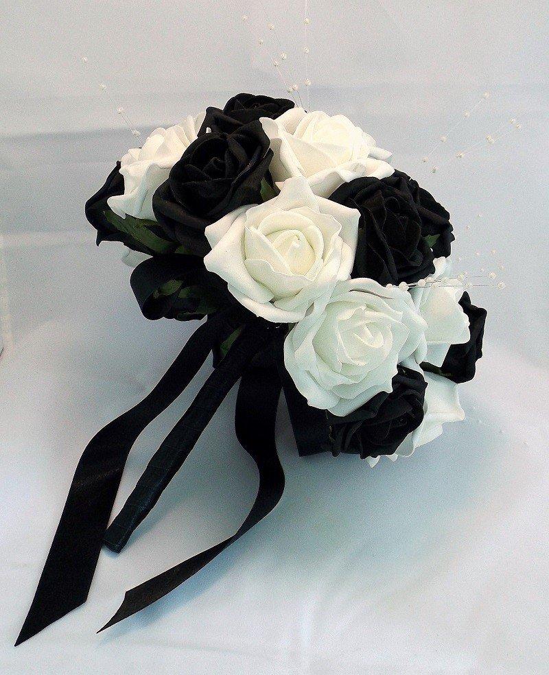 Свадебный букет черно белый