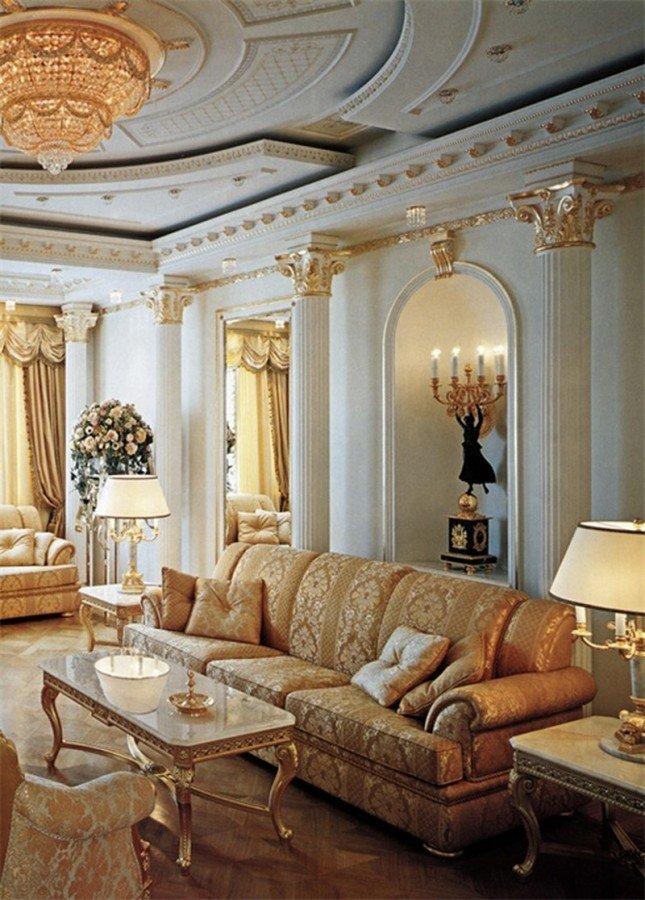 Роскошная гостиная лепнина в стиле ампир