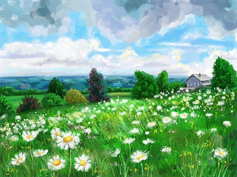 платформа рисунок лесная поляна красками всего