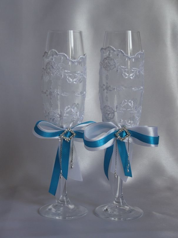 Банты на свадебные бокалы своими руками