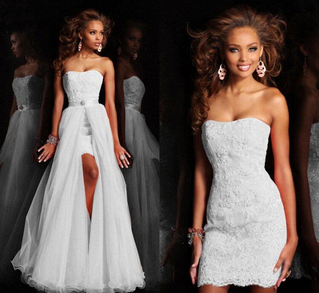 3f2200b3ec2 ... Купить товар 62107 Новый Дизайн Высокая Низкая Короткое Без Бретелек  Белый Свадебное Платье Свадебное Платье Съемный