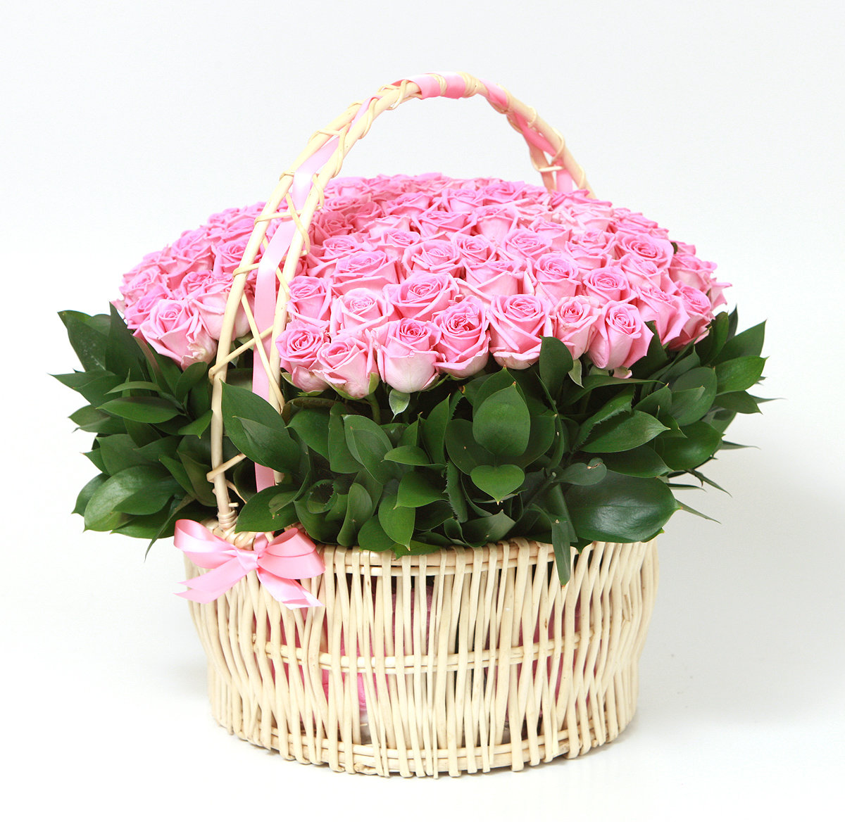 Спасибо, открытка с букетом цветов в корзине
