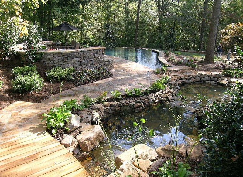 ландшафтный дизайн естественного водоема в саду