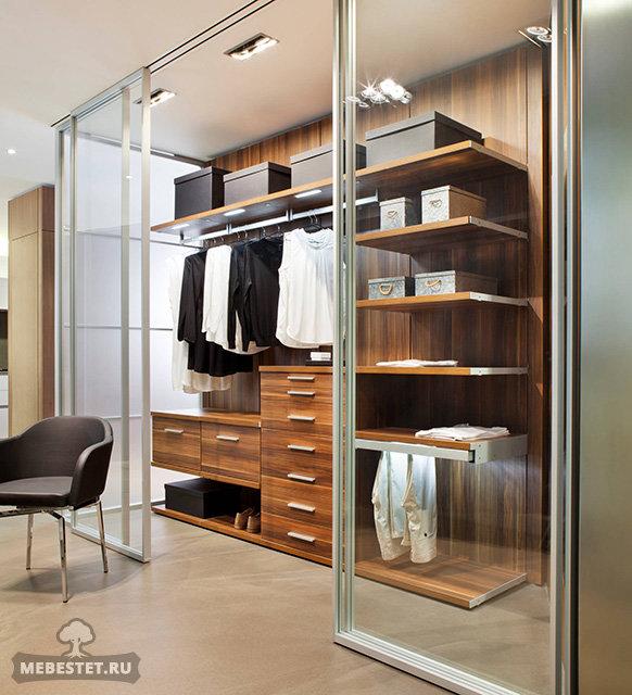 Шпонированная гардеробная буазери с раздвижными стеклянными .